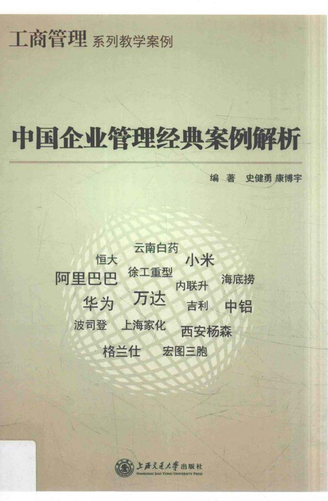 中国企业管理经典案例解析 史健勇 PDF
